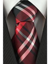 JSM-4090 Mens Necktie Woven Plaid Pattern Red Black and