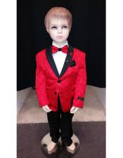 JSM-4208 Kids Children Boys Red Tuxedo Paisley Two toned