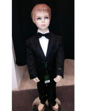 Kids Children Boys Black Tuxedo