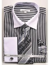 JSM-4237 Mens Daniel Ellissa Stripe Pattern Two Tone French