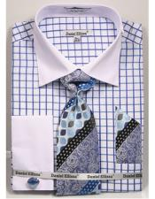 JSM-4242 Mens Daniel Ellissa Checked Pattern Two Tone French