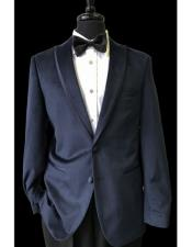 JSM-4337 Mens 2 Buttons Black Trimmed Lapel Velvet Navy
