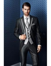 Mens Shiny Flashy Black Tuxedo