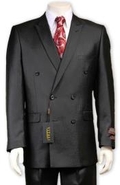 JSM-4378 Mens Sharkskin Sheen Fabric Black Double Breasted suit