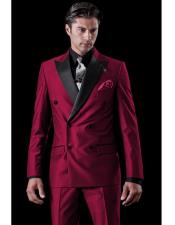 JSM-4406 Mens Burgundy Double Breasted Tuxedo Two Toned Wool
