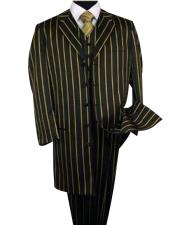 JSM-4446 Mens Black Single Breasted Bold Pronounce Yellow Pinstripe
