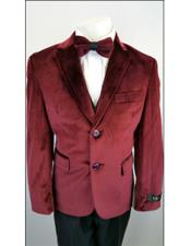JSM-4531 Kids Boys 2 Buttons Notch Lapel Velvet Burgundy