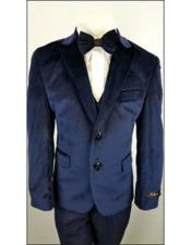 JSM-4532 Kids Boys Navy 2 Buttons Notch Lapel Velvet