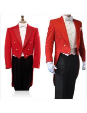 JSM-4534 Double Breasted Red Long Blazer Black Pants 3