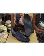 JSM-4583 Genuine Navy Blue Crocodile Lizard Loafer Dress Los