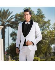 JSM-4642 Single Breasted Two Toned Tuxedo White & Black