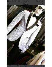 JSM-4644 Silver Light Grey ~ Black Patter Shawl Lapel