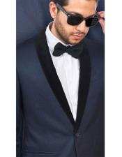 JSM-4691 Mens Wool Fabric Navy Blue With Black Velvet