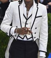 JSM-4724 Mens White and Black Trim Lapel Tailcoat Tuxedo
