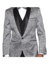 JSM-4752 Paisley-200VP Black and Silver Suit Two Toned Alberto