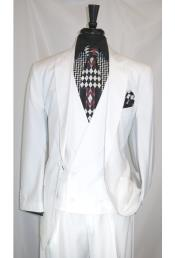 JSM-4903 Mens Peak Lapel 2 Button White Multi Stripe