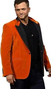 EGGSYS FAILLE-TRIMMED COTTON-VELVET ORANGE TUXEDO JACKET