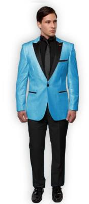 CH1983 Slim Tux Sky Blue with black Lapel