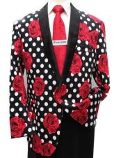 polka dot Red/Black/white Blazer