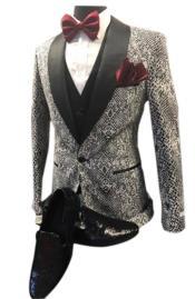 CH2491 Mens Black Shawl Lapel fashion vested tuxedo suit
