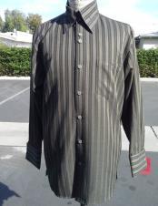 CH2492 mens long sleeve stripe olive walking suit