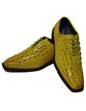 GD1650 Mens Fashion Light Green~Yellow Lace Up Oxford Dress