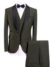 GD1651 Mens Olive Green 3-Pieces Slim Fit Shawl Lapel
