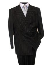 GD1655 Mens Stripe Pattern Black Button Closure Double Breasted