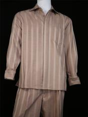 JA07 Mens Centerline Stripes 2pc Buff Shirt and Pants