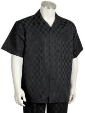 JA09 Mens Short Sleeve Classic Fit Walking Set Black