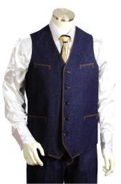 JA17 Mens 2pc Collarless Denim Vest and Pants Blue