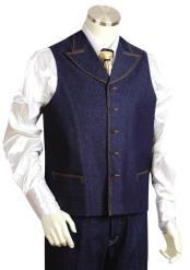 JA18 Mens Dual Pocket Denim Blue 2pc Zoot Suit