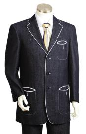 JA21 Mens Button Fastener Black Tri Pocket 2pc Suit
