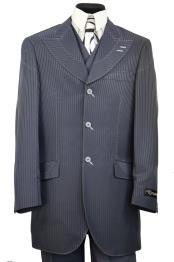 JA28 Mens Designer Arc Lapel Striped Indigo Shirt and