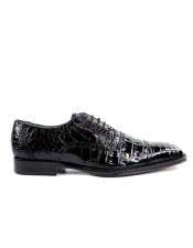 EK11 Belvedere Mens Genuine Crocodile Black Leather Lining Sole