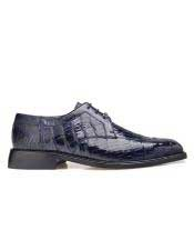 EK17 Belvedere Mens  Genuine Crocodile Navy Leather Lining