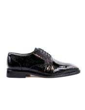 EK13 Belvedere Mens Genuine Lizard Black Shoes