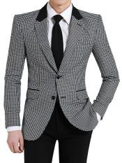 MO597 Mens Two Button Houndstooth Designed Notch Lapel Black