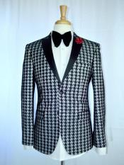 MO599  Mens Two Button Houndstooth Designed Peak Lapel