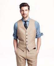 GD1833 Mens 2 Piece Linen Causal Outfits Vest &
