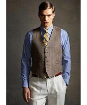 GD1843 Mens 2 Piece Linen Causal Outfits Vest &
