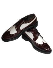 EK45 Mens Leather Cushion Insole 5 Eyelet lacing Burgundy~White