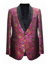 EK65 Floral ~ Flower Print Novelty Holiday Mens Blazer