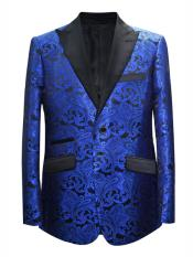 MO650 Mens 2 Button Paisley Designed Peak Lapel Royal