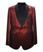 GD1861 Mens 1 Button Single Breasted Shawl Lapel Red