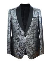 GD1863 Mens Single Breasted 1 Button Paisley Pattern Sport