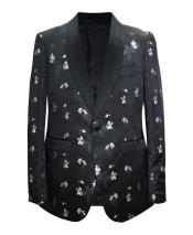 GD1864 Mens 1 Button Paisley Pattern Shawl Lapel Black