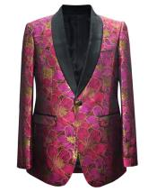 GD1865 Mens Fuchsia 1 Button Paisley Pattern Shawl Lapel