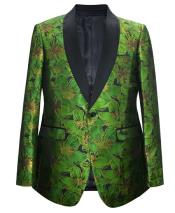 GD1866 Mens Single Breasted 1 Button Paisley Green Sport
