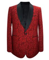 GD1868 Mens Red Paisley Single Breasted 1 Button Sport